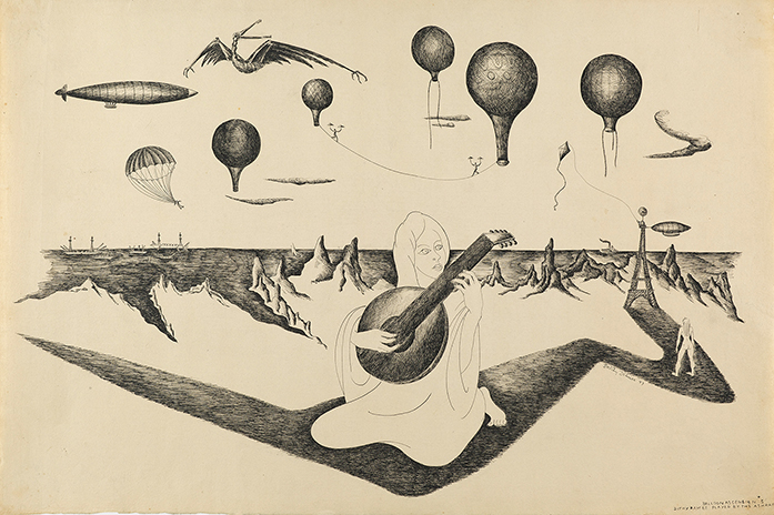 Ink drawing of woman (Ashraf) playing a dithyramb with mountains behind her and balloons above