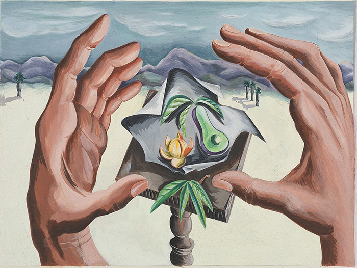 Painting of two hands about to hold an abstract object containing a tiny avocado and orange