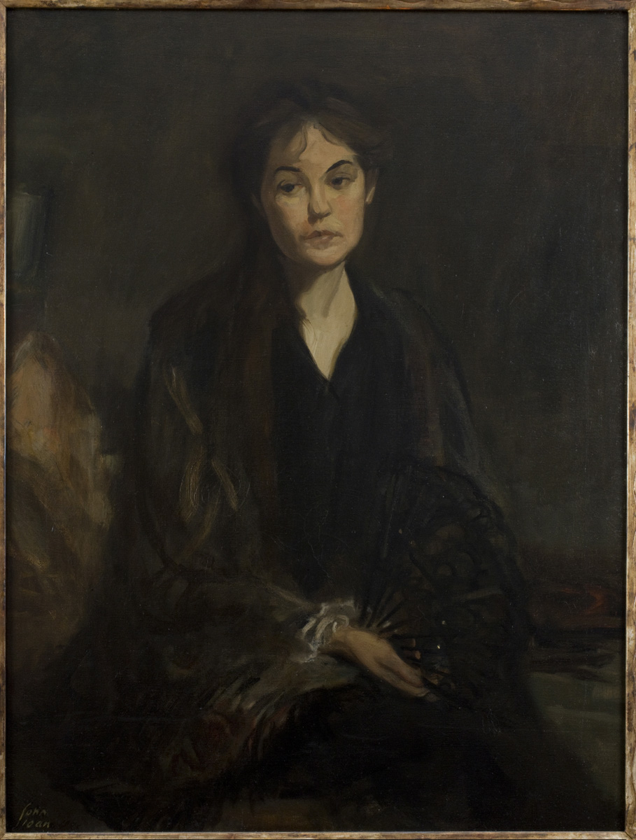 Painting of a woman sitting with a sad expression holding a fan
