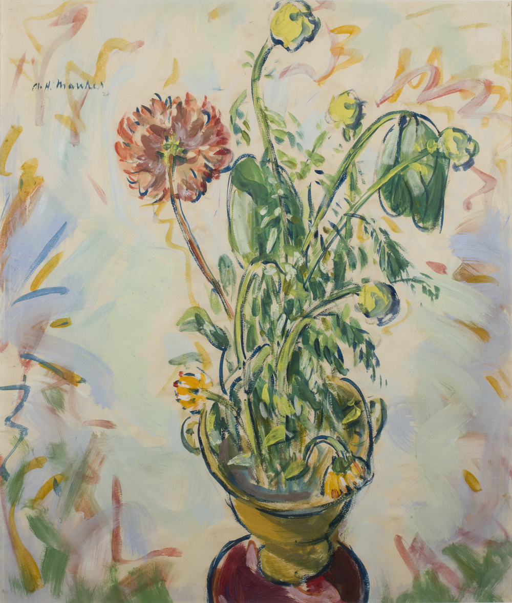 Painting of yellow and red flowers in yellow vase