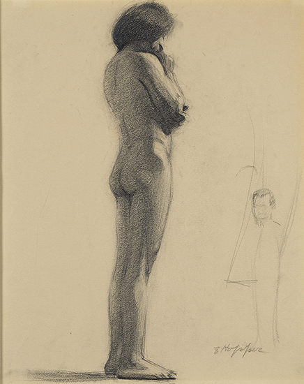 Graphite drawing of a nude facing forward with a small figure on bottom right