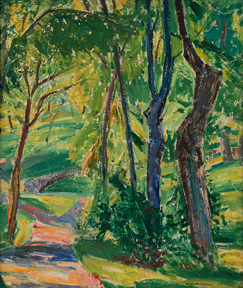 Painting of a path in the woods surrounded by green grass, vegetation, and trees
