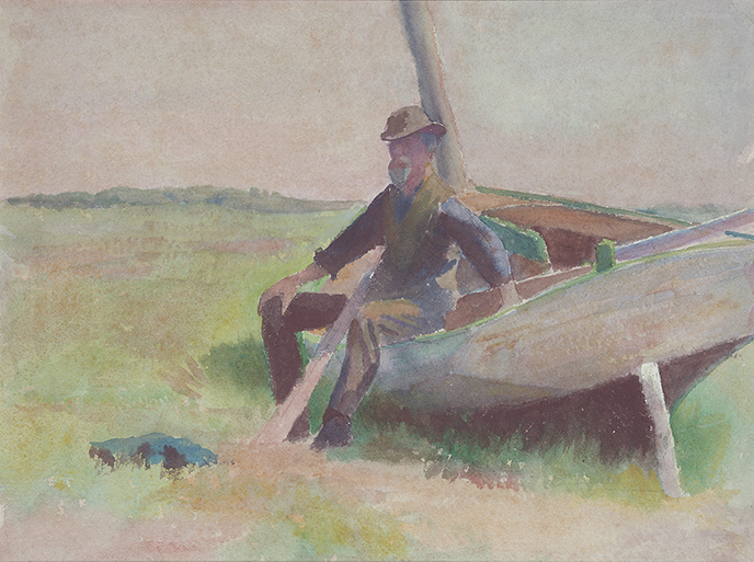 Drawing of a man sitting on a beached boat in a green field