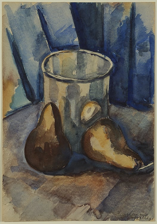 Painting of a glass and two pears against blue background