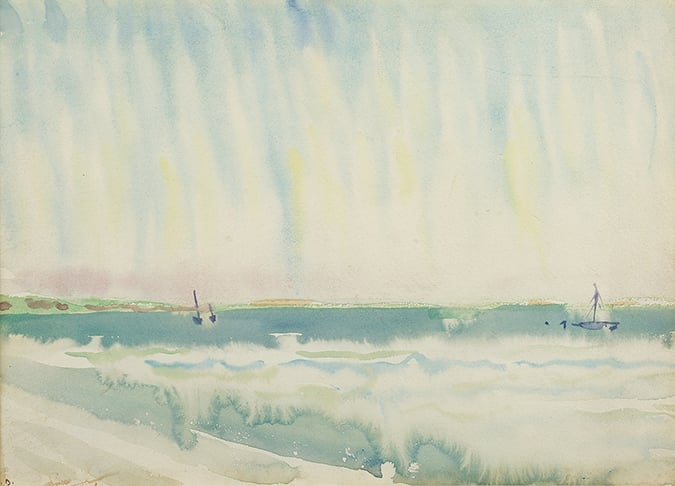 Watercolor of blue/green seascape with two small sailboats and blue sky with white haze