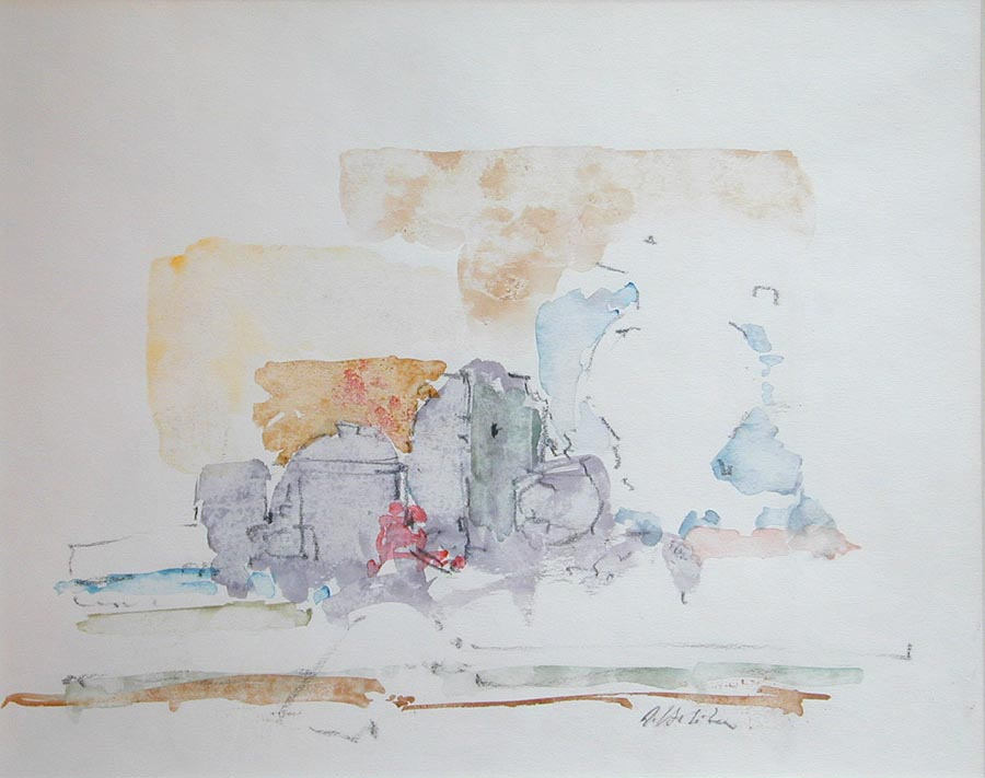 Abstract watercolor of kitchen counter with jars and containers