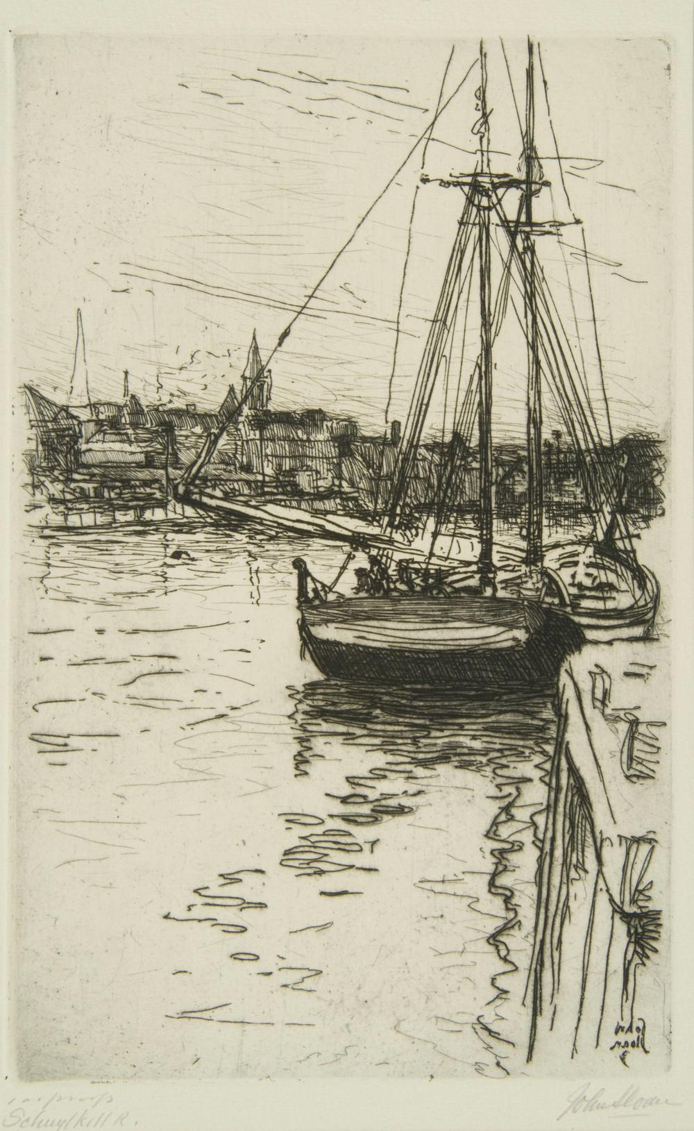 Etching of sailboat on water with buildings in background