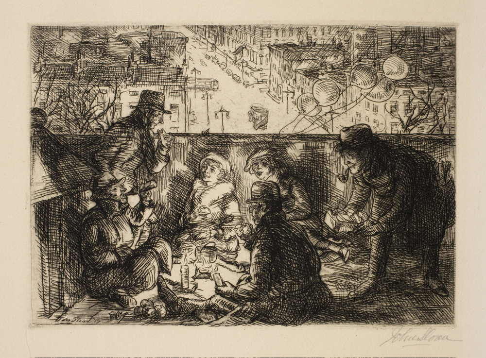 Etching of adults and children sitting on a roof eating with a view of buildings and the street in the background