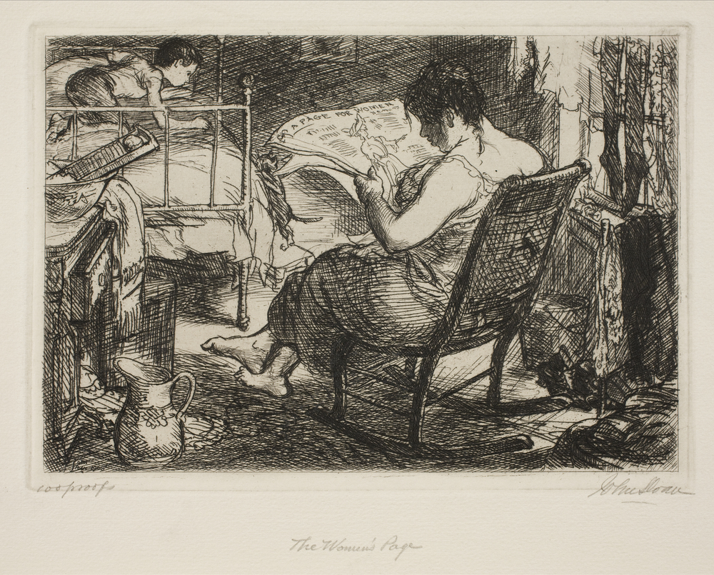 Etching of woman reading the newspaper in a rocking chair while child plays on bed with the cat