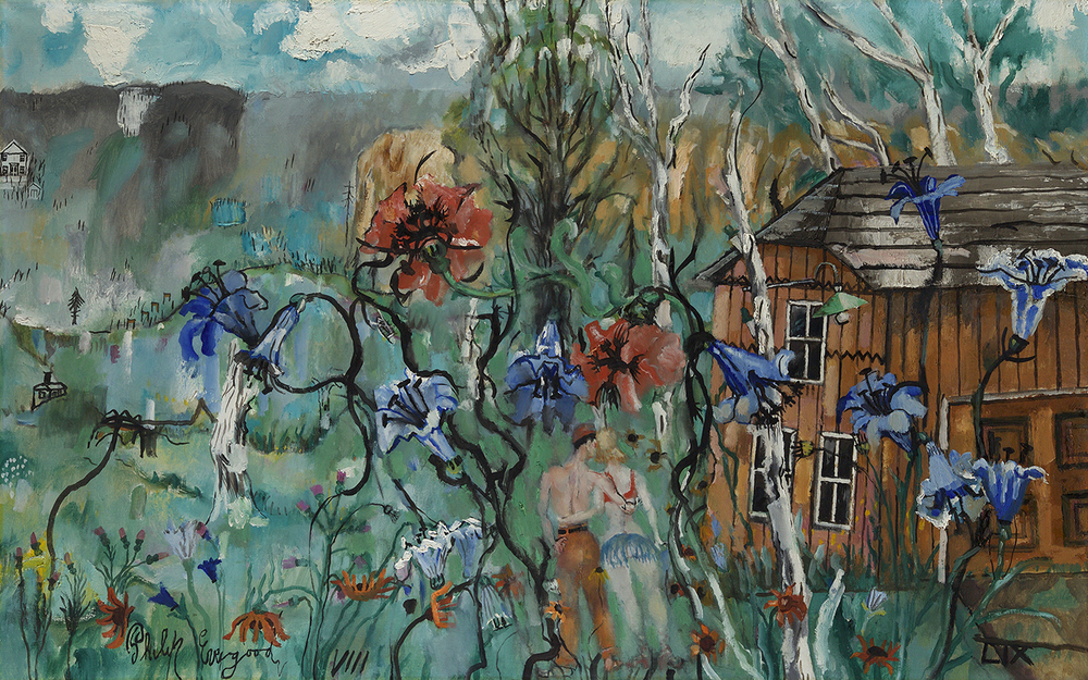 Painting of wood home on right with purple and red flowers in foreground and two little figures holding each other