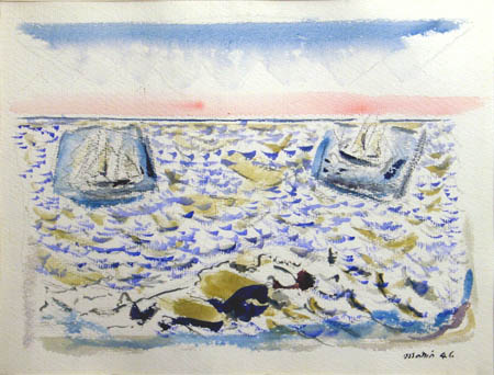 Watercolor of boats on a blue sea with a pink and blue sky
