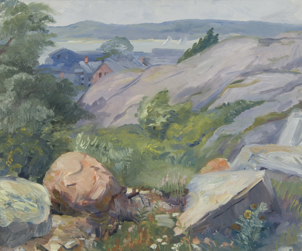Painting of rocks, vegetation, trees on left, and houses in background