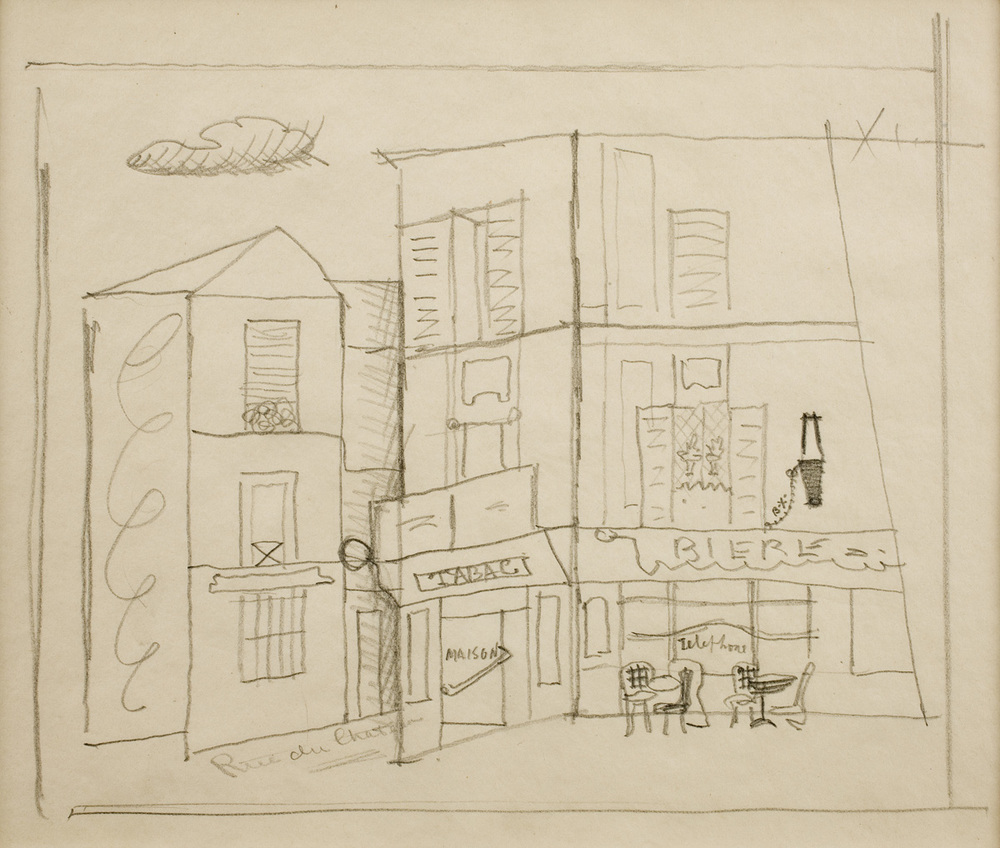 Drawing of a street in France with a Tabac shop and a cafe/bar