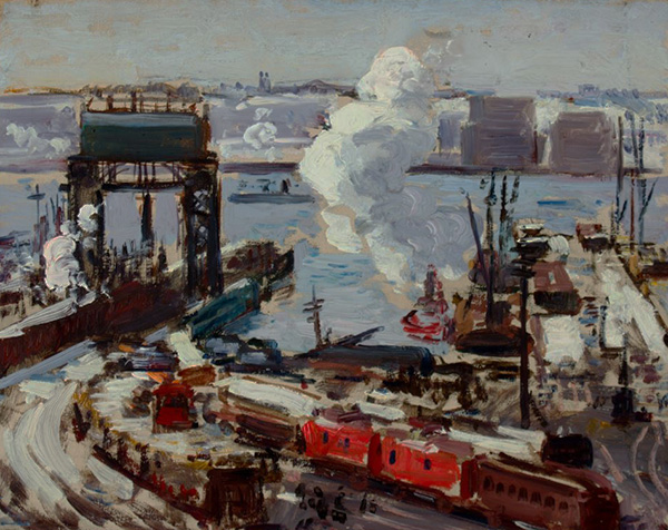 Painting of freight yard with red containers, plume of smoke, and water