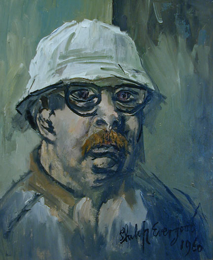 Artist self-portrait in blue/green tones wearing glasses and white hat with beard