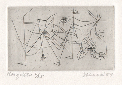 Abstract engraving indicating movement with frenetic lines