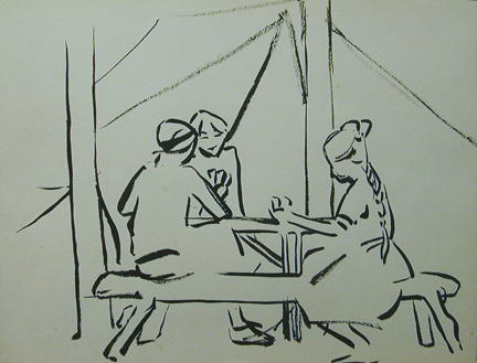 Ink drawing of three figures playing cards at a picnic bench at camp