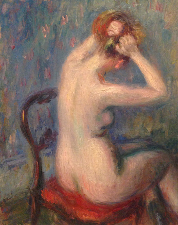 Pastel of nude woman facing a wall doing her hair in a wood chair with red cushion