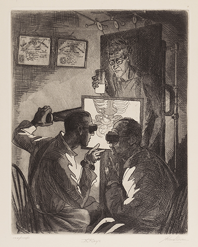 Etching of two doctors performing an x-ray on a man, who is standing