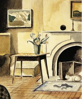Watercolor of room with table, vase containing flowers, fireplace, and cat (yellow hue)
