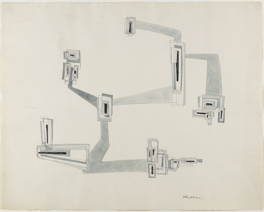 Abstract ink drawing of rectangular shapes intersecting