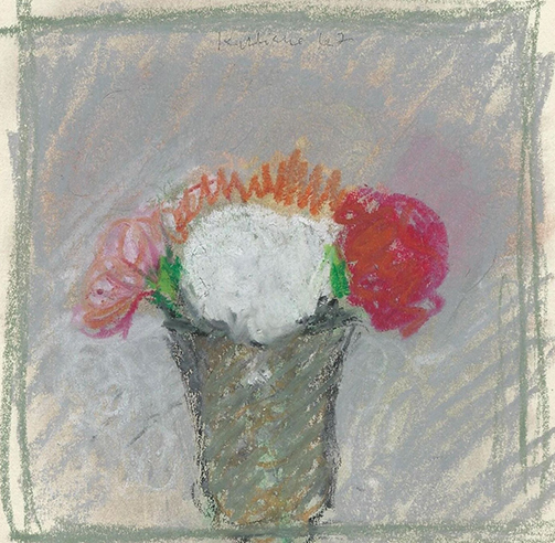 Robert Kulicke, Pink, White, and Red Flowers in a Grey vase against a grey background with pink, orange, white, and red flowers