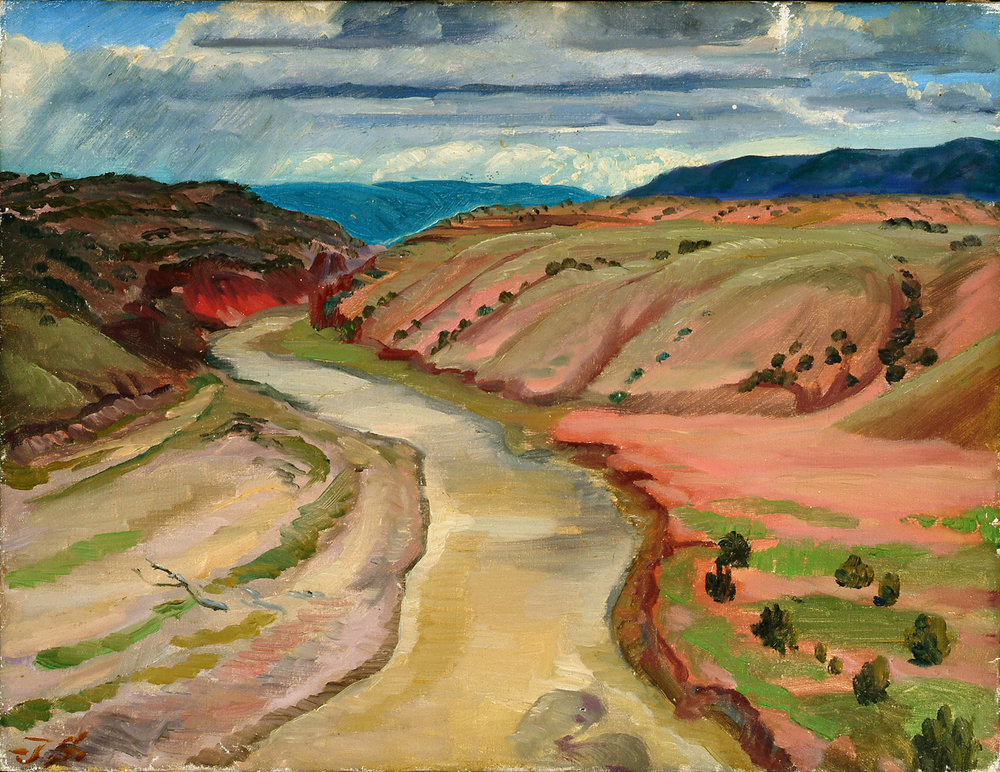 Painting of beige river running between two hills (pink on left, red on right) with blue hills in background