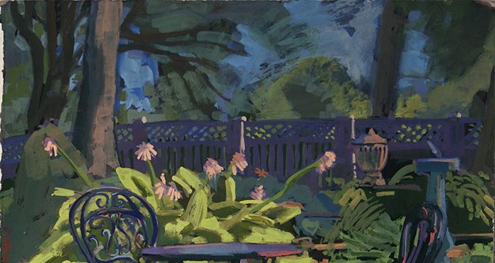 Painting of a table outside with flowers, trees, and a fence