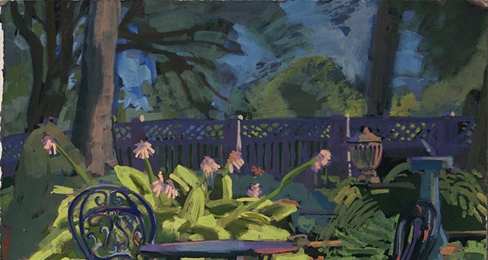 Catherine Drabkin,  Victorian Garden , 2015-2016, gouache on paper, 7 x 13.5 inches (17.8 x 34.3 cm)