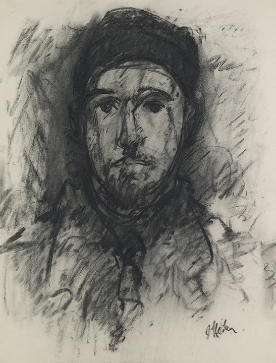 Charcoal drawing of man wearing a cap