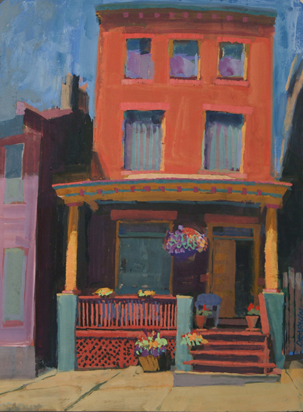 Painting of red house, yellow pillars, red porch, and flowerpots on porch