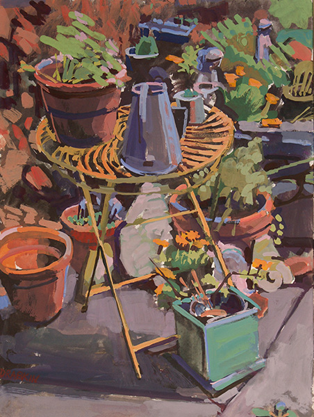 Painting of yellow round metal table with flower pots on top and plants in pots to the right