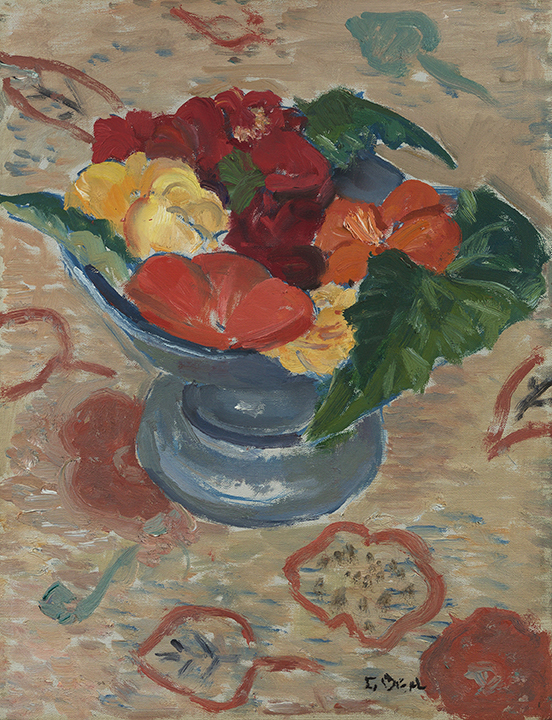 Painting of red, orange, yellow petunias in blue vase