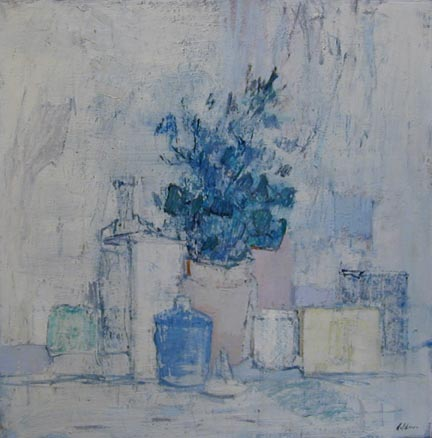 Painting of blue foliage in a vase surrounded by jars
