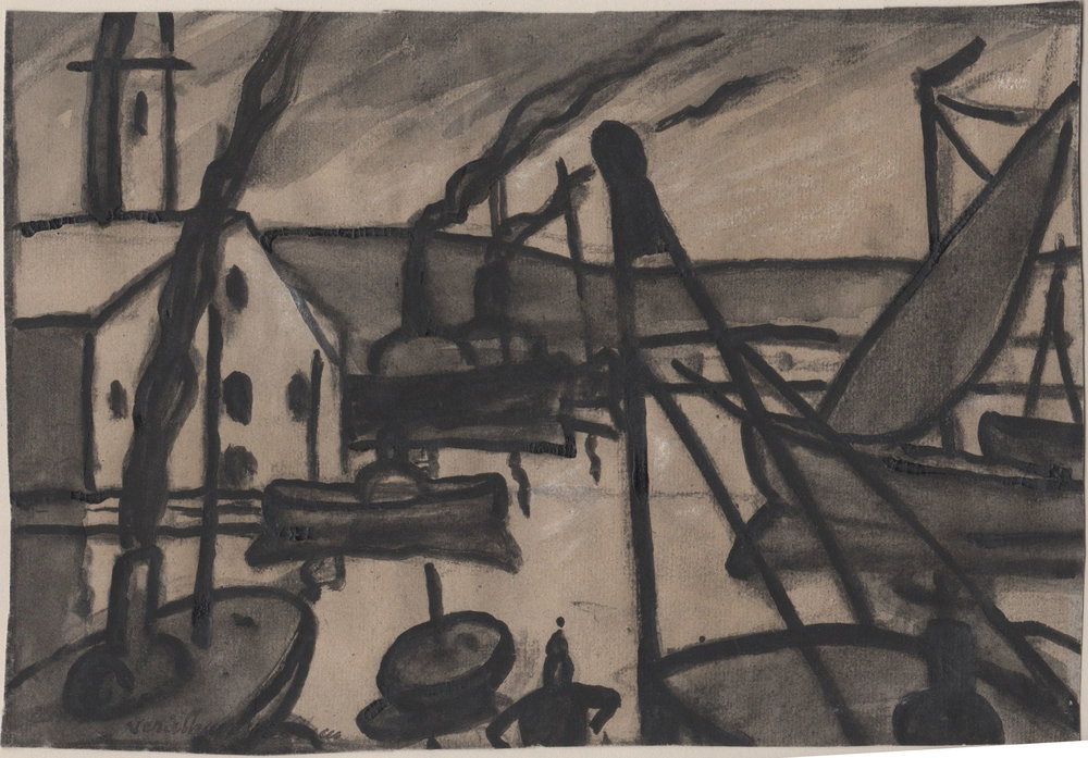 Ink wash and graphite boats on water with a house on the left