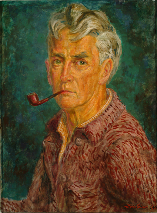 Painting of artist John Sloan with pipe in mouth, red jacket, and green background