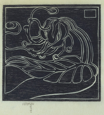 Woodcut of white outlined lotus on blue background