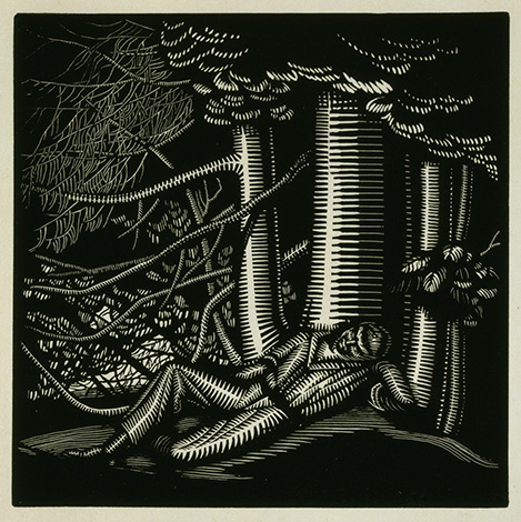 Woodcut of reclining man under a tree (comb tooth lines for man and tree)