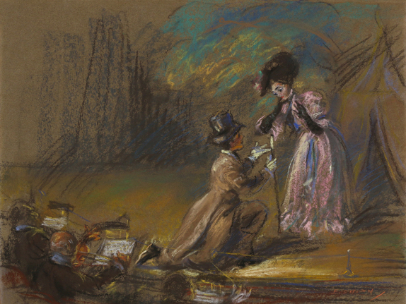 Pastel of man and woman on stage with figures sitting in foreground. Man is on knees wearing top hat and woman is wearing fancy pink dress