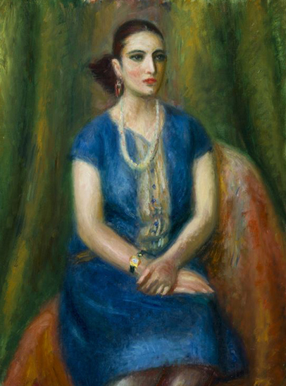 Glackens, Woman in Blue Dress