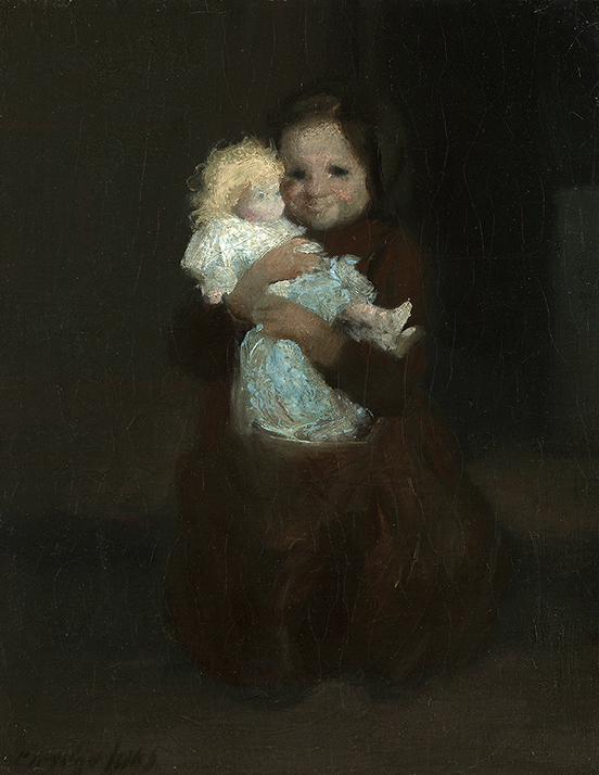 Painting of child holding doll in blue dress on black background