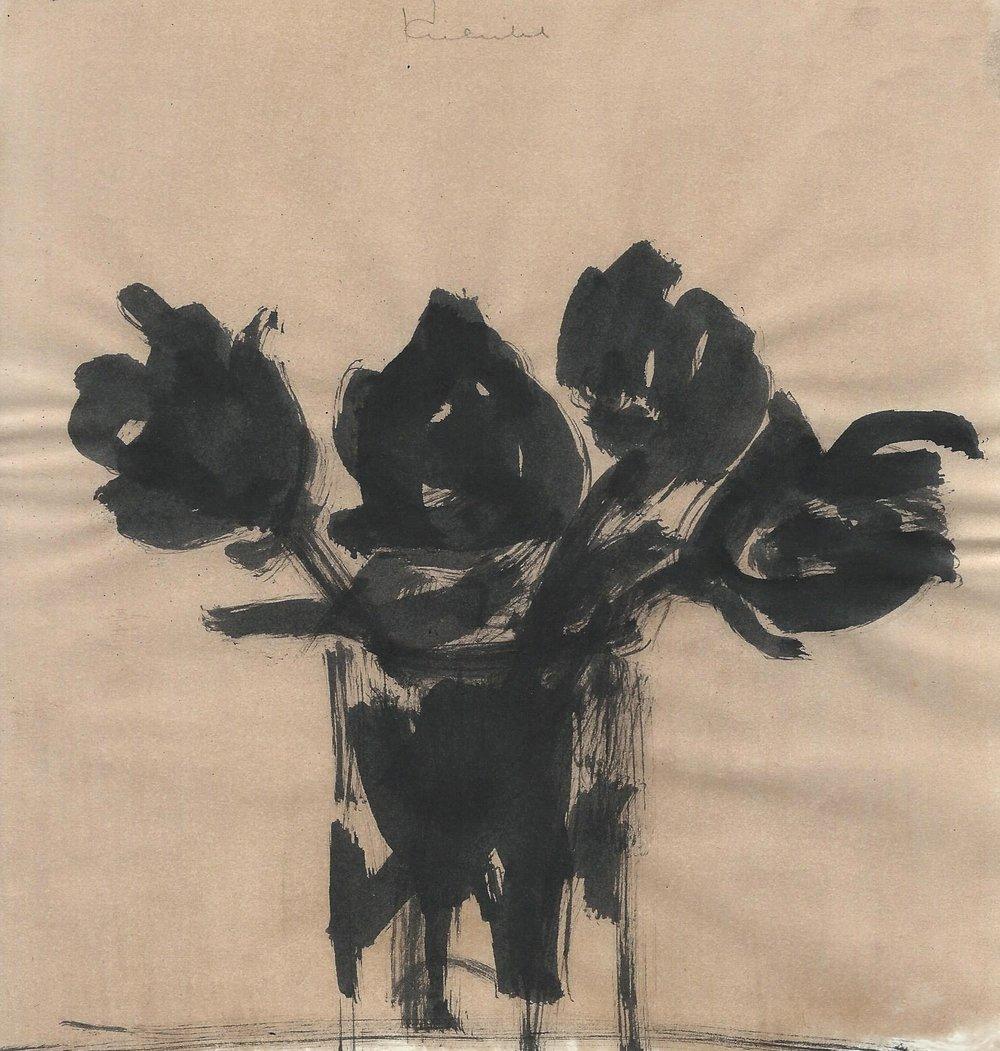 Kulicke, Black Flowers in Glass Vase.jpg