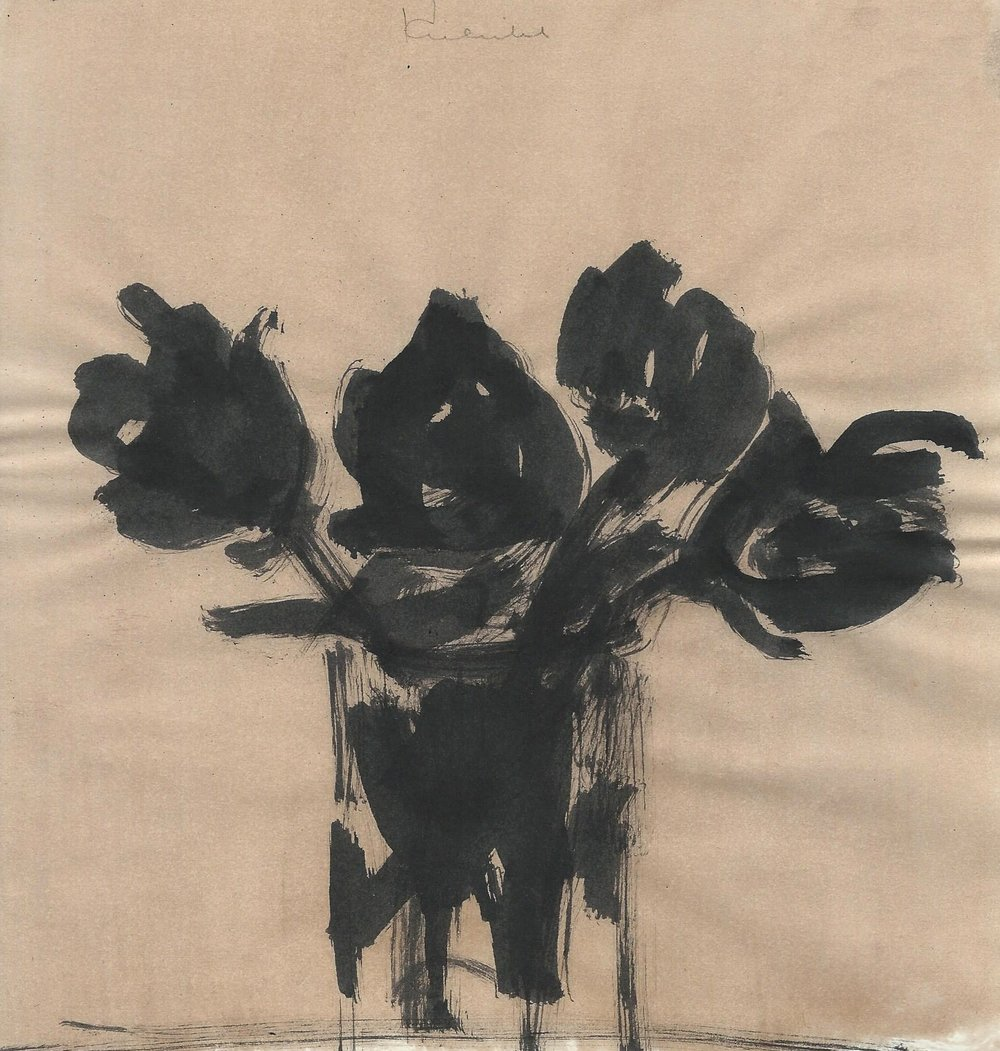 Watercolor of four black flowers in a vase