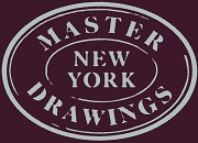 "Graphic of text ""Master Drawings New York"" in white oval on purple background"