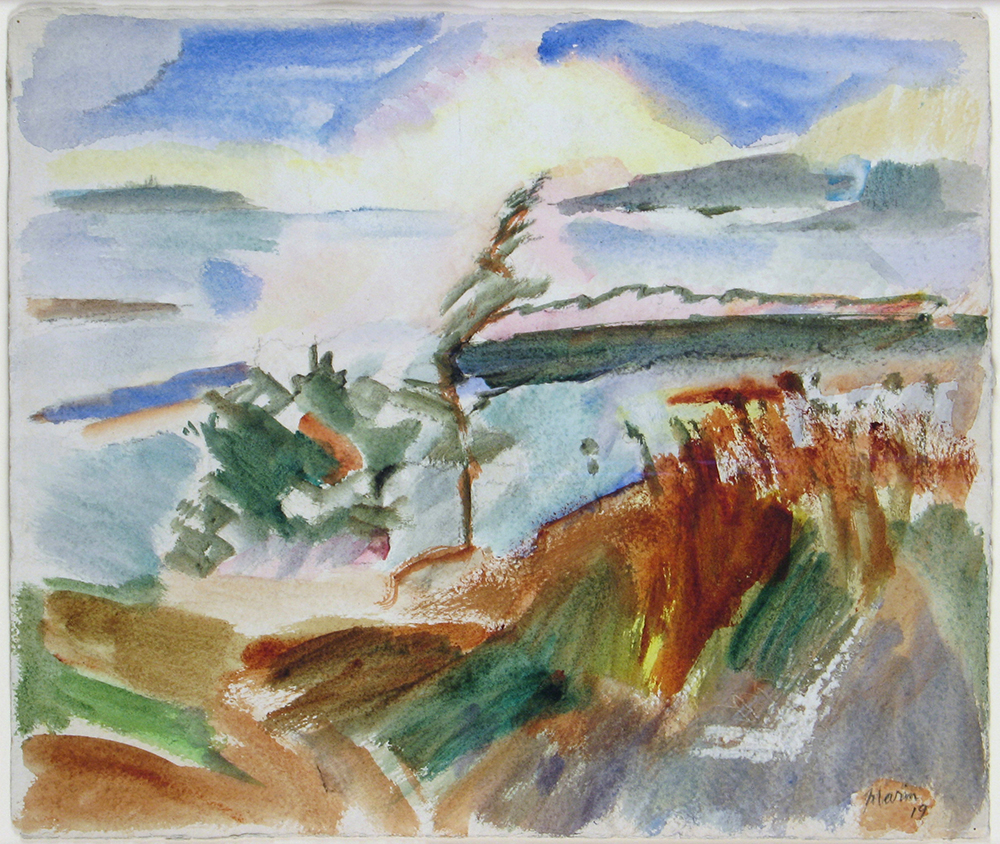 Abstract watercolor of mountains, trees, grass, water on Deer Isle, Maine