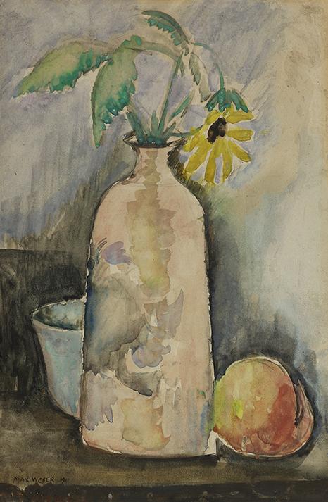 Weber, Still Life with Daisy, Bottle, and Peach.jpg