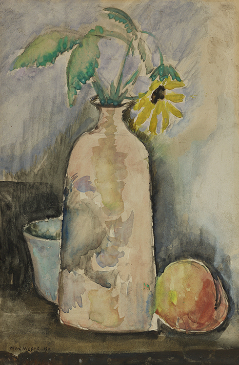 Still life painting of a daisy in a bottle with a peach on the right
