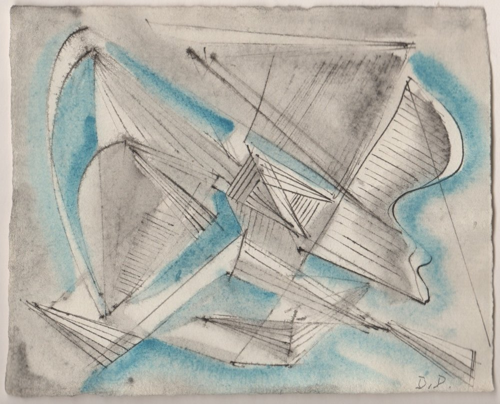 Dehner, Untitled [Nickel Drawing, Blue and Black]