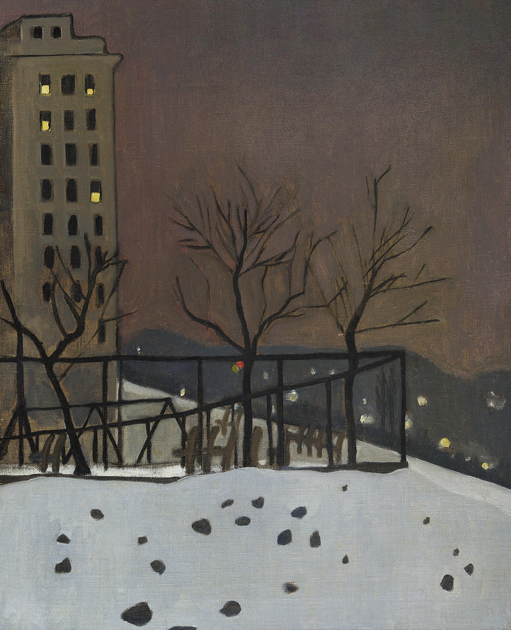 Painting of bare trees in snow, hills in background, apartment building on left.