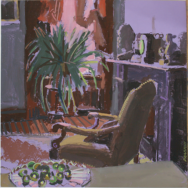Gouache of brown chair facing a green plant with fireplace on right, all bathed in purple light